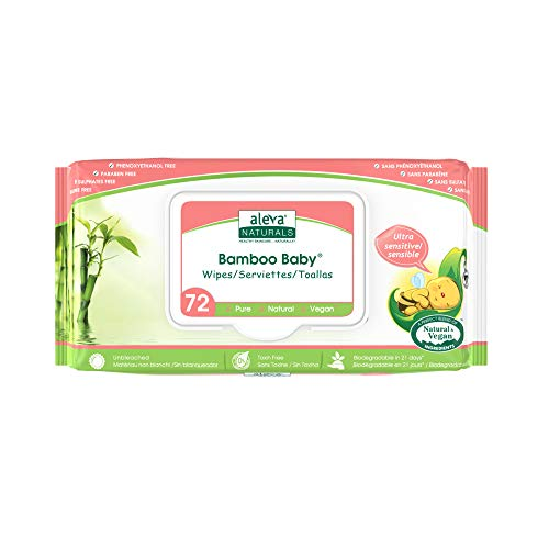 Aleva Naturals Bamboo Baby Sensitive Wipes | Unscented | Extra Strong and Ultra Soft | Natural and Organic Ingredients | Certified Vegan | 72ct ()
