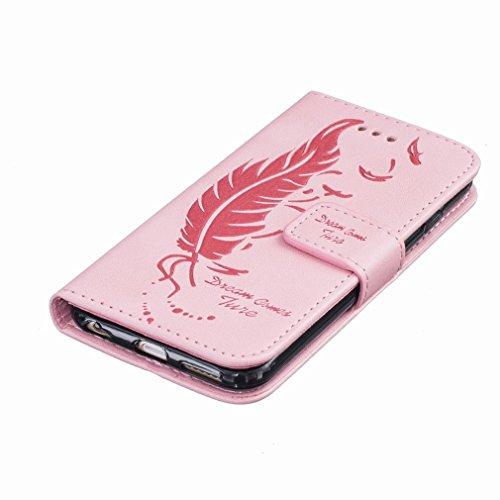 Custodia Apple iPhone 6 Plus / 6s Plus (5.5) Cover Case, Ougger Portafoglio PU Pelle Magnetico Stand Morbido Silicone Flip Bumper Protettivo Gomma Shell Borsa Custodie con Slot per Schede, Sognare Piu