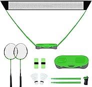 FBSPORT Portable Badminton Net Set with Storage Base, Folding Volleyball Badminton Net with 2 Badminton Racket