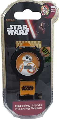 Star Wars Kids' BB-8 Digital Watch with Rotating Lights (SWM3065)