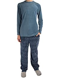 (2 Piece Men's Fleece Pajamas Set Soft Shirt Warm Pants PJ Sleepwear Top & Bottom