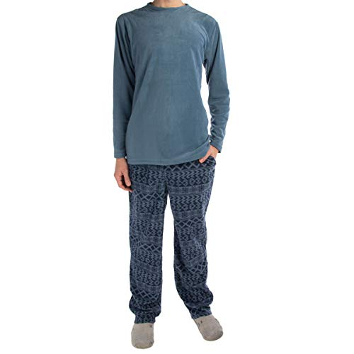 Joe Boxer (2 Piece Men's Fleece Pajamas Set Soft Shirt Warm Pants PJ Sleepwear Top & Bottom (Pajamas Shirt Pants)