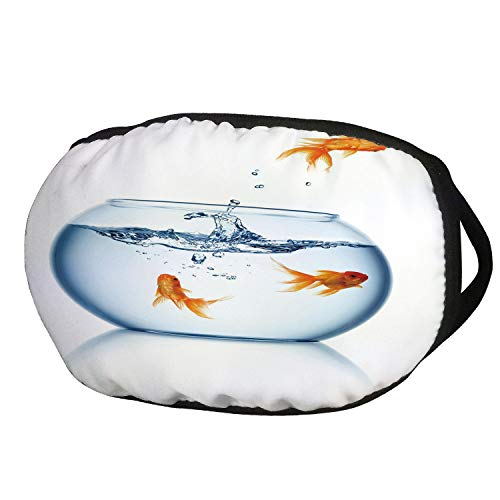 Airsoft Smoking Tank - Fashion Cotton Antidust Face Mouth Mask,Aquarium,Goldfish Jumping Out of the Fishbowl Freedom Escape Challenge Bravery Theme Decorative,Blue Orange White,for women & men