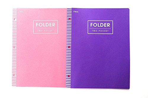 Mead 2 Pocket Poly Folder 2 Piece Bundle Pink & Purple
