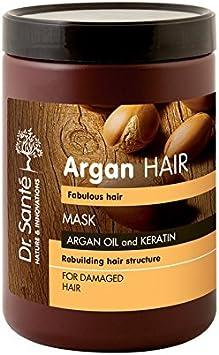 Mascarilla para el cabello con aceite de argán y queratina para cabello dañado, 1000 ml, Dr. Sante/5124