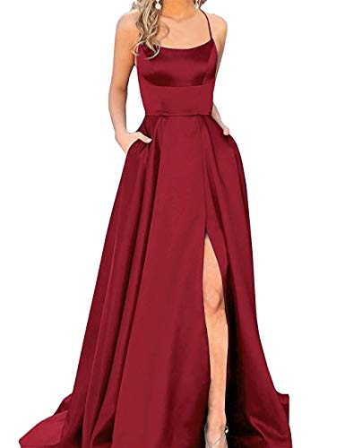 Halter Prom Dresses Long Split A-Line Spaghetti Evening Gowns with Pockets 2019 Dark Red Size 4