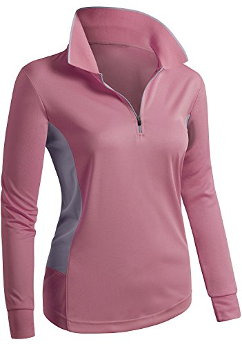 CLOVERY Active Wear Line Point Collar Long Sleeve Zipup POLO Top PINK US M / Tag M (Collar Long Sleeve Top)