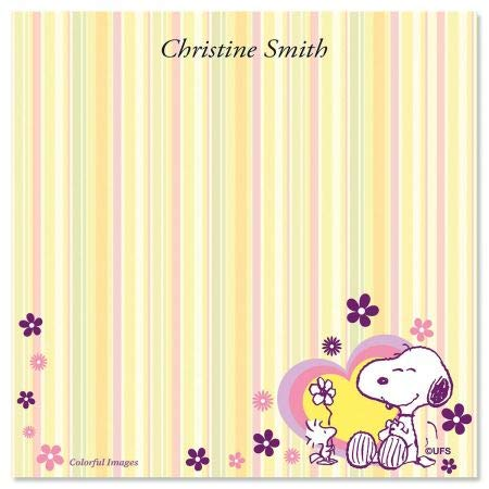 - PEANUTS Snoopy In Pink Personalized Non Sticky Note Cube Scratch Paper - Set of 700 Loose Sheets