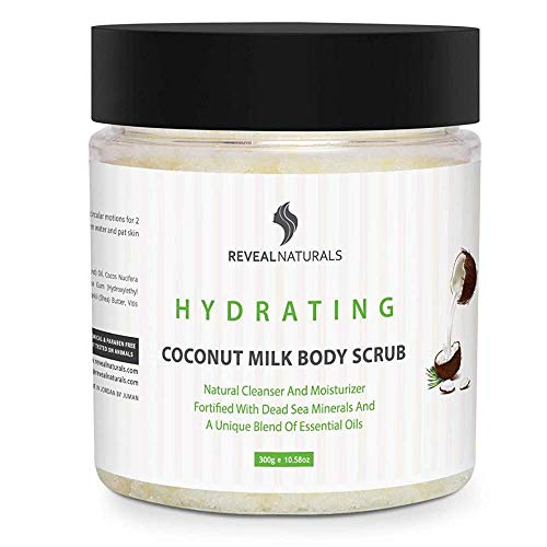 Natural and Organic Coconut Body Scrub with Coconut Oil, Real Salt from the Dead Sea, Shea Butter, Argan oil and Vitamin E. Best for Cellulite, Exfoliating and Stretch Marks (10.5 oz.) (Best Body Oil For Eczema)