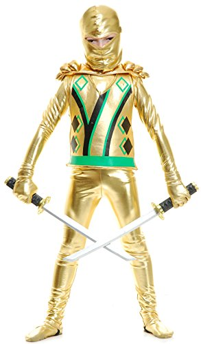 Charades Child Golden Ninja Series III Costume Costume Jumpsuit, Gold ()