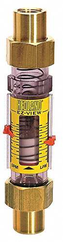 (Hedland H624-010 EZ-View Flowmeter, Polysulfone, For Use With Water, 1.0 - 10 gpm Flow Range, 1/2