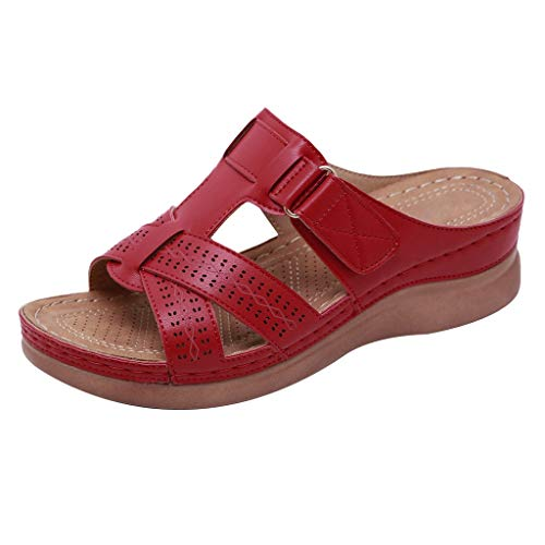 - WILLBE Flats Wedges Comfy Platform Sandal Women's Strapy Cross Flatform Slipper Open Toe Casual Wedges Leather Slippers Red