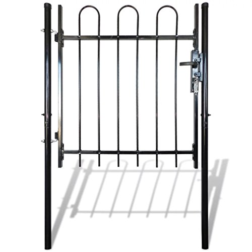 Retrome Single Door Fence Gate,Garden Mesh Gate,Side Gates Fence Door Wall Grille,Galvanized Steel with 3 Keys, Hoop Top Black for Residential,Garden, Yard (Turnbuckle Hinge)