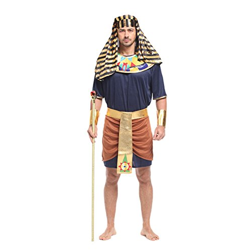 [Lerela Men's Classic Egyptian Pharaoh Costume with Headdress Hat M] (Pharaoh Headdress)