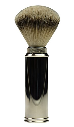 (Rein Dachs Silberspitz 'Turnback' Shaving Brush for Travel, 20x51mm Premium Silvertip Badger Knot, Nickel-Plated Solid Brass Handle, Handmade in Germany)
