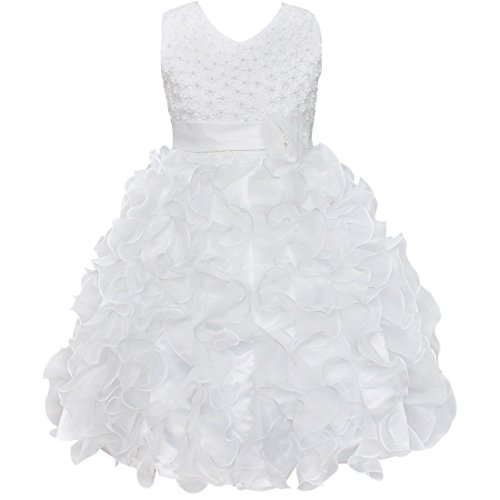 iEFiEL Girls Beading Bodice Ruffle Party Wedding Communion Flower Dress White (Kids White Dress)