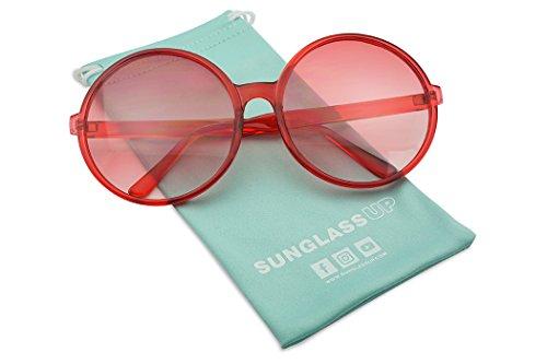 Super Huge Round Circluar Color Translucent Two Tone Lens Circle Retro Sun Glasses (Red Frame | Red Gradient - Sunglasses John Candy