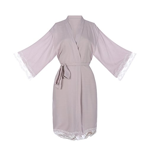 Ellenwell Women's Cotton Knit Kimono Robe for bride and Bridesmaid with Lace Trim Nightwear(Small,Grey)
