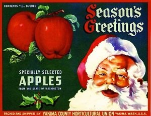 MAGNET Yakima Season's Greetings Santa Claus Christmas #1 Apple Fruit Crate Magnet Print
