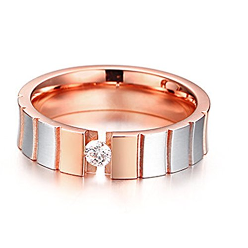 JAJAFOOK Unisex's Charm 5MM/6MM Stainless Steel Clip Set Single Cubic Zirconia Rose Gold Couple Ring by JAJAFOOK