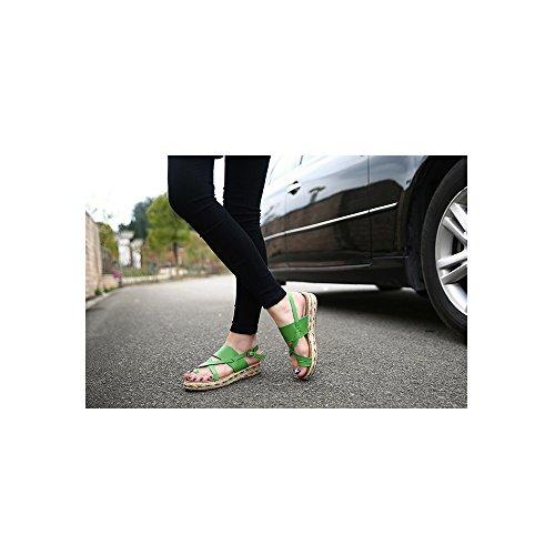 OCHENTA Zapatillas de Moda Sandalias Alpargatas Abierto de Plataforma Tobillo Mujer #09 Verde