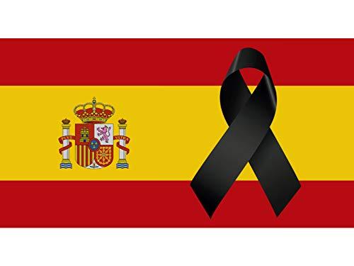 🥇 Oedim Bandera de España con Crespón   Medidas 85x150cm   Reforzada y con Pespuntes   Bandera de España con Crespón y 4 Ojales Metálicos   Resistente al Agua