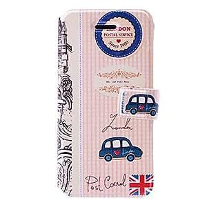 ZXM-London postal serie de coches patrón estuche de cuero con ranuras de soporte y tarjeta para el iphone 5/5s