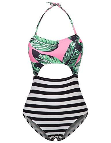 - Women Halter Bathing Suit One-Piece Stripe Swimwear Swimsuit Leaves L