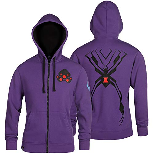 JINX Overwatch Ultimate Widowmaker Zip-Up Hoodie (Purple, X-Large)