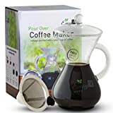 EasyR Home Pour Over Coffee Maker –14oz Carafe Brewer Of Superior Tasting Coffee Without Waste, Includes Reusable Stainless Steel Filter, Glass Lid and Bonus Neoprene Pot Warmer to Keep Coffee Hot