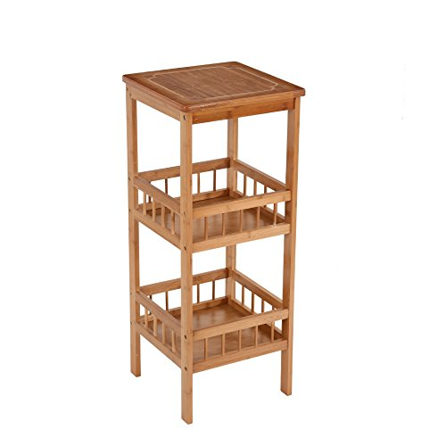3 Shelf Square Table (HollyHOME 3 Tier Bamboo Sofa Side End Table Square Flower Stand with Storage Rack Shelf Telephone Stand Plant Stand)