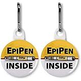 EPIPEN INSIDE Medical Alert White 2-Pack 1 Zipper Pull Charms