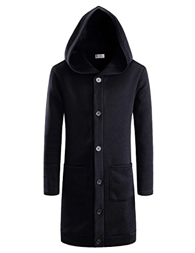 TheLees (NKTNC606) Mens Slim Fit Fleece Lining Hooded 6 Button Long Cardigan BLACK US S(Tag size S) by TheLees