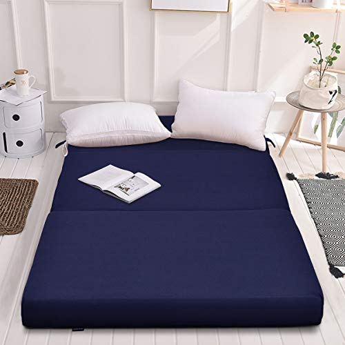 Giantex 4 Thick Folding Portable Mattress Pad Sofa Bed with No Carrying Handles and Removable Washable Fabric, High-Density Foam Futon Sleepover Guest Easy to Store (Queen, Blue)