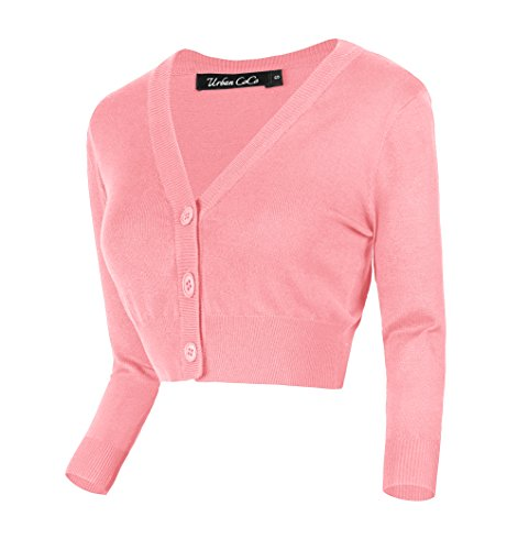 Urban CoCo Women's Cropped Cardigan V-Neck Button Down Knitted Sweater 3/4 Sleeve (L, Pink)