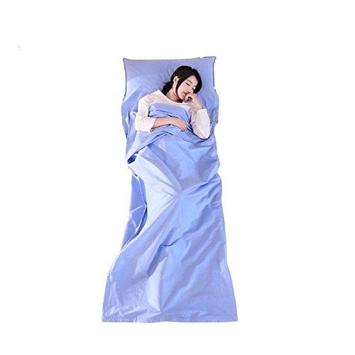 FITFIRST Saco de Dormir Ligero y Suave del algodón con Funda de Almohada y Bolsa de Almacenamiento Portátil para Viaje, Camping, Excursión (Azul): ...