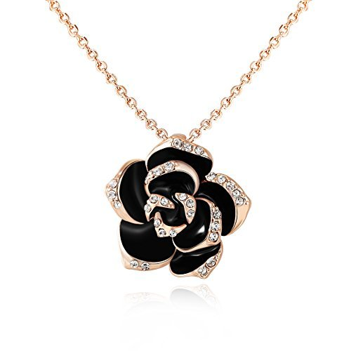 """KEDRIAN 18K White Gold Plated Black Rose Necklace, Elegant Black Roses Flower Necklaces For Women, Cubic Zirconia Diamond Rose Necklace, 17"""" Chain (Rose Gold Plated) -"""