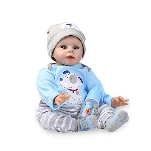 Nicery Reborn Baby Doll Soft Simulation Silicone Vinyl Cloth Body 22inch 55cm Magnetic Mouth Lifelike Boy Girl Toy for Ages 3+ Blue Dog Nicery-55C076