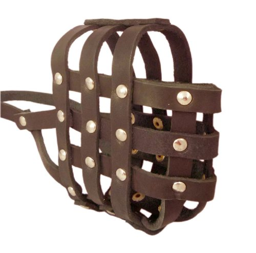 Real Leather Dog Basket Muzzle #107 Brown - Pit Bull, Amstaff (Circumference 12