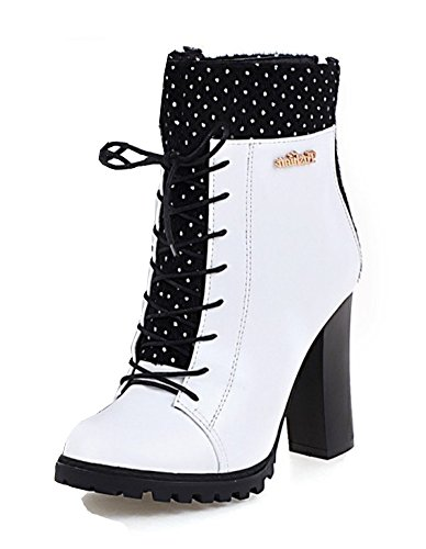 Tacón Alto De Moda Con Cremallera De La Parte Posterior De Las Mujeres De La Cremallera De Aisun Tacones Altos Con Cordones De La Bota Zapatos De Tobillo Blanco