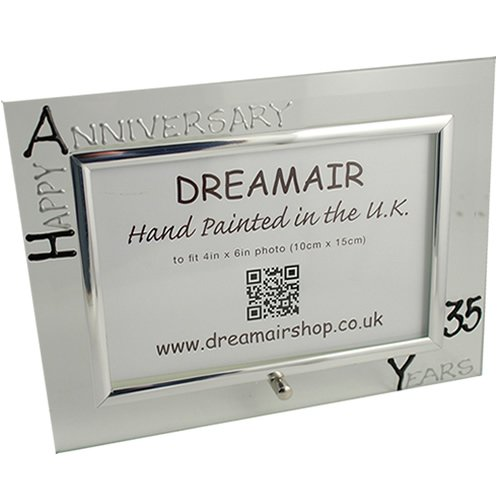 35th Year(Coral) Wedding Anniversary Gift Photo Frame (L) (Black/Silver)