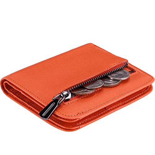 Itslife Women's Rfid Blocking Small Compact Bifold Leather Pocket Wallet Ladies Mini Purse with id Window (Natural Orange)