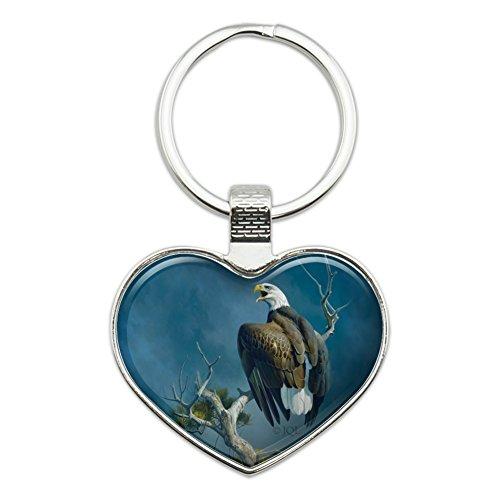 Eagle Bald Keychain (Bald Eagle Nest Raptor Heart Love Metal Keychain Key Chain Ring)