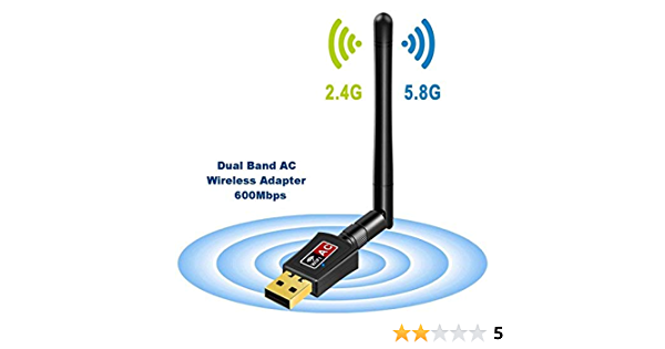 Adaptador Antena WIFI USB de Largo Alcance 600Mbps de Victsing, wifi Adaptador Inalámbrico,Dual Band (5GHz 433Mbps / 2.4GHz 150Mbps) Con Antena ...