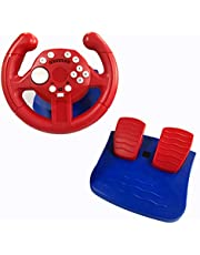 Skywin Racing Wheel and Pedal Game Controller - USB Steering Wheel and Pedals with Vibration Feedback - Compatible with Nintendo Switch Switch Lite PS3 PC and Android