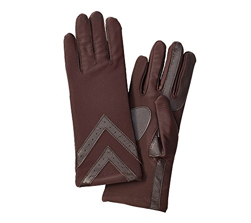 Signature Glove Womens (Isotoner Signature Women's SmarTouch Spandex Gloves with Chevron Applique Brown XL)