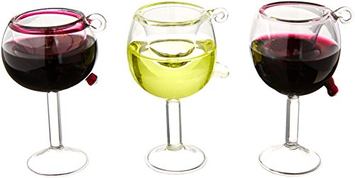 Kurt Adler 2-1/2-Inch 2-3/4-Inch Glass Wine Cup Ornament, Set of 3 (Ornaments Wine Glass)