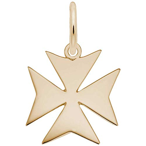 Rembrandt Charms Maltese Cross Charm, Gold Plated Silver