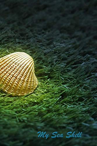 """My Sea Shell: 120 Page Softcover, Has Both Lined Pages With Various Shell Pictures and Blank Pages With Shell Border, College Rule Composition (6"""" x 9 """")  Underwater Green with Shell ()"""