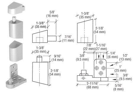 C.R. LAURENCE 0P34RHA CRL Aluminum Offset Right Hand Pivot Set Flush with Frame Face